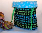 Knitting Invaders project bag by AnnirPurl