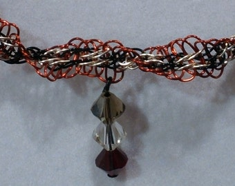 Twisted Spiral Necklace in Red, Black and Silver with a Three Swarovski Stone Drop