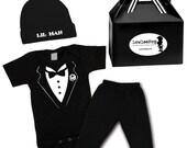 Little Man Tuxedo Gift Set - black onesie, pants, hat & Gift Box