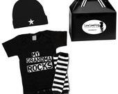 My Grandma Rocks Gift Set onesie, hat & leg Warmers ... Punk Rock!