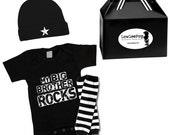 My Big Brother Rocks Gift Set onesie, hat & leg Warmers ... Punk Rock!