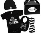 My Uncle Rocks Gift Set onesie, hat, leg Warmers & drums bib ... Unisex!