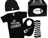 My Aunt Rocks Gift Set onesie, hat, leg Warmers & guitar bib ... Unisex!