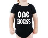 One Rocks Black Onesie