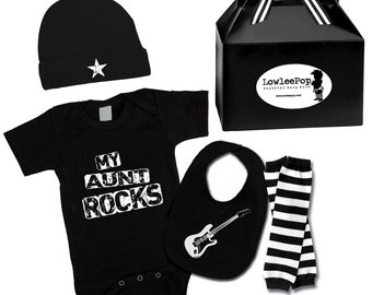 My Aunt Rocks Gift Set onesie, hat, leg Warmers & guitar bib ... Unisex!