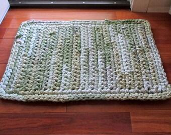 Green Recycled Rag Rug Bath Mat Kitchen Rug Upcycle Rectangular Bedroom Olive Green Rug
