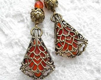 Orange Spice Earrings - Hyacinth Glass Jewel in Antiqued Brass