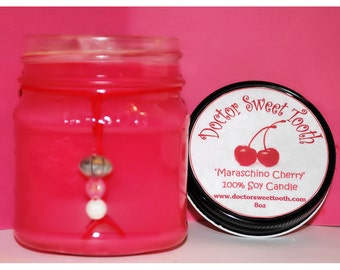 Maraschino Cherry Soy Mason Jar Candle 8oz