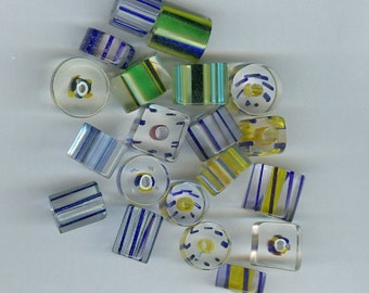 Blue and Yellow Cane Glass Beads Mixed sizes and shapes 929T