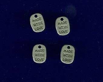 Set of 10 Made with Love Antique Silver Pewter Charm Finding Bead 11mm x 9mm