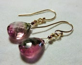 LAST DAY 20% OFF (Code:SALE20) Natural pink with green faceted Tourmaline pear briolettes, and 14K Solid Yellow Gold Earwires