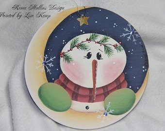 Over the Moon Snowman Ornament Renee Mullins design
