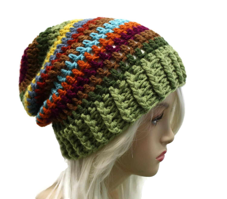 Crochet Slouch Hat: Womens Slouchy Beanie Hat Striped Crochet Slouch Hat