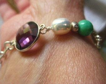Amethyst Bracelet, Amethyst Jewel, Sterling Silver, Hill Tribe, AAA Quality Pearl, Moss Green Opal
