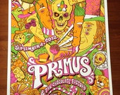 Primus & The Chocolate Factory Willy Wonka Les Claypool Skull Psychedelic Gigposter Poster by GIGART