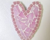 mosaic heart refrigerator magnet pink