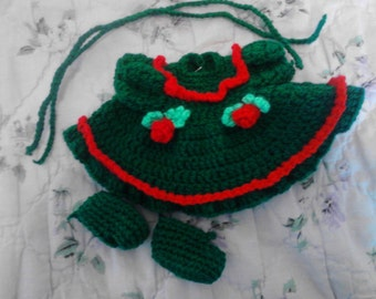 Green Long Sleeved Dress For My 6.5in Curly Grils Dolls