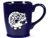 Hedgehog Mug - Navy Blue - microwave/dishwasher safe - cute coffee cup
