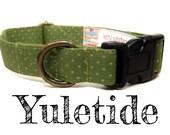 "Green Gold Polka Dot Dog Collar - Organic Cotton - Antique Brass Hardware - ""Yuletide Splendor"""