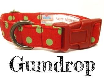"Red Green Christmas Polka Dot Dog Collar - Organic Cotton - Antique Brass Hardware - ""Gumdrop"""