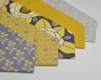 Men's Necktie, Yellow and Gray Wedding, Floral Tie, Groomsmen Necktie