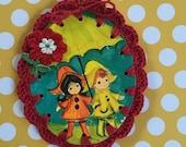 It's Rainging, It's Pouring / Crochet Vintage Illustration Ornament