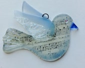 Dove Christmas Ornament Fused Glass (Dove in Light Blue)
