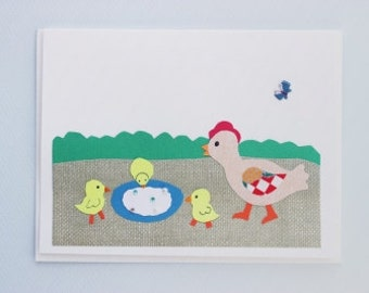 Mother hen and baby chicks - print card by Emily Lin