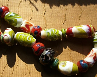 Lampwork Glass Beads by CAtalinaglass SRA  Indian Summer