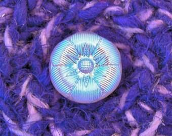 Iridescent Aqua Star - Unique Home Decor Silk Tapestry Basket with Embellished Lid - Handmade Purple Keepsake Box - Gift for Dreamer STB096
