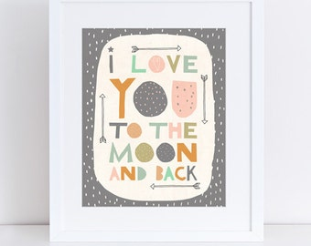 I Love You To The Moon And Back - A4 Giclee Print - Kids - Nursery - Bedroom