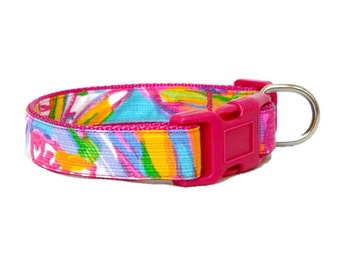 2015 SUMMER HAZE Dog Collar Made from Lilly Pulitzer Fabric Size: Your Choice