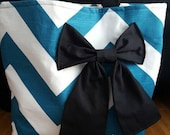 Large teal chevron tote bag with black bow