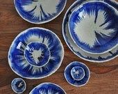 Large Layered Indigo Crackle Geode Bowl - Blue and white Bowl Handmade Ceramic bowl