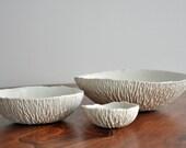 Set of 3 Porcelain Nesting Bowls - Clear Crackle Geode White Ceramic Bowl
