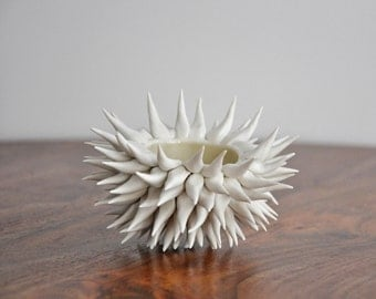 Gold Micro Urchin Bowl - Ceramic Sea Urchin Bowl Beach Decor Coastal