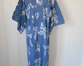 Vintage Geisha Kimono Robe  cotton   floral blue   lounge lingerie long festival    Japanese
