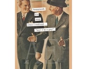 ATPC17 Anne Taintor Postcard Magnet - housework is a snap since I realized, hey! I'm a guy! - Funny Retro - Stocking Stuffer, Thank You, BFF