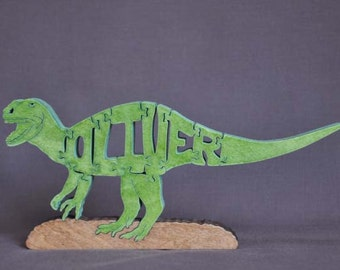 Oliver Personalized T-Rex Dinosaur  Wooden Puzzle Toy  Hand  Cut  with Scroll Saw