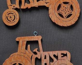 2 CASE Farm Tractor  Orange  Wooden Toy Ornaments Hand Cut