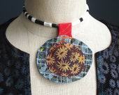 Friendship - iheartfink Handmade Hand Printed Textile Art Flowers Fabric Disc Wearable Art Necklace