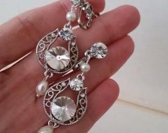 Wedding Clip On Earrings Crystal Clip Earring Clip On Pearl Earring Art Deco Earrings Clip Pearl Teardrop Dangle Clip Ons Long Dangle, MABEL