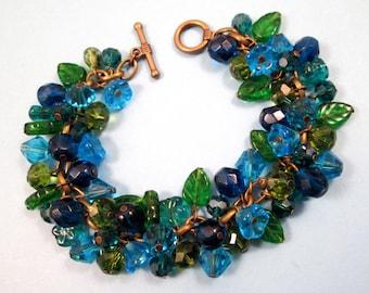 Flower Charm Bracelet, Secret Garden, Green and Blue Bouquet, Brass Beaded Bracelet, FREE Shipping U.S.