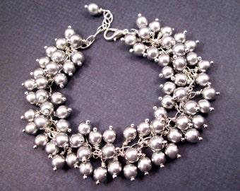 Silver Charm Bracelet, Wire Wrapped Glass Beads, Cha Cha Style Bracelet, FREE Shipping U.S.
