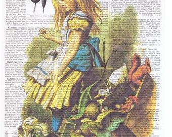 Alice in Wonderland.Vintage Book Page Print.squirrel.frog.eco.buy 3 get 1 free.child deco.birthday gift.fantasy.mom.dad.animals.nursery.art.