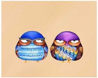 Owls - Funny Art Print - Grumpy Birds - Cute Whimsical Animal Gift - Watercolor Painting Giclee Prints - Funny Gift