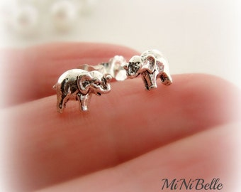 Elephant Earrings. Sterling Silver Petite Elephant Stud Post Earrings.