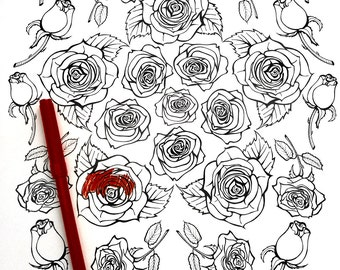 Coloring Art Print Rose Design 11x17 Poster Art For You To Color with FREE Markers