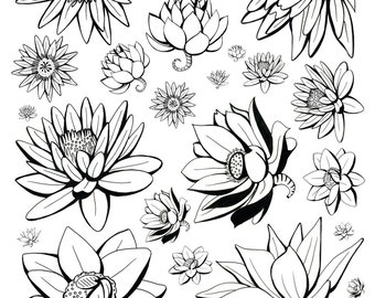 Coloring Art Print Lotus Flowers Version 2 Design 11x17 Poster Art For You To Color with FREE Markers