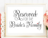 Reserved Bride's Family, Reserved Wedding Sign, Sign for Bride's Family, Printed Wedding Sign